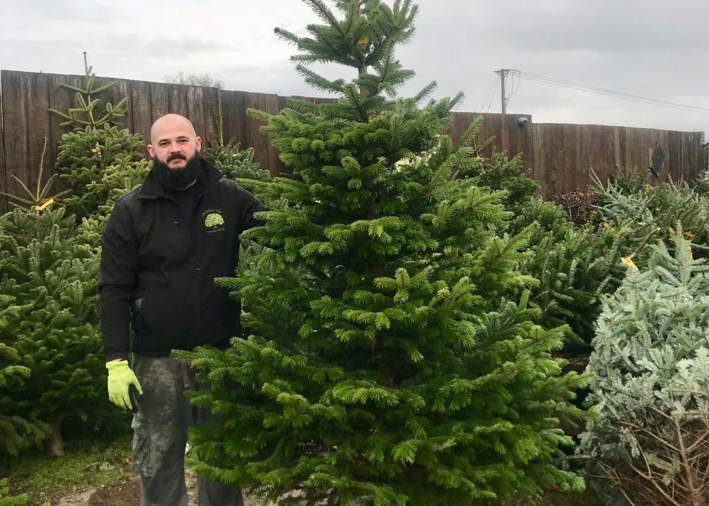 Tom holding Christmas Tree
