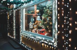 Christmas lights on shop window
